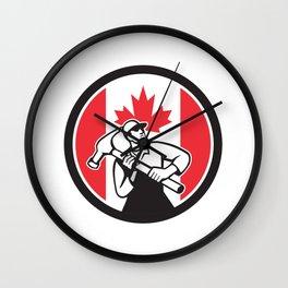 Canadian Handyman Canada Flag Icon Wall Clock