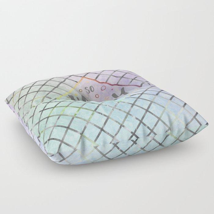 Text Art SO HAPPY | rainbow-colored Floor Pillow