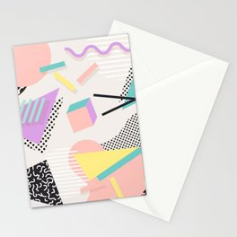 80s / 90s RETRO ABSTRACT PASTEL SHAPE PATTERN Stationery Cards