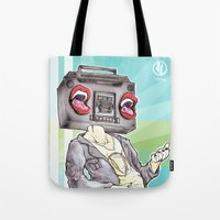 radiohead Tote Bags featuring RadioHead by Andrea Fonseca Illustration