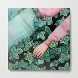 Lets me rest in fields of green / Watercolor painting Metal Print