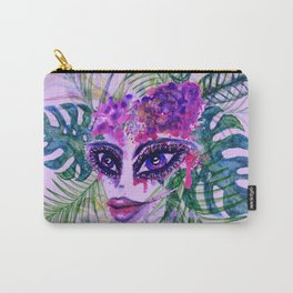 Purple Woman with Tropic leaves Carry-All Pouch