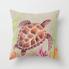 Tan Sea Turtle Throw Pillow