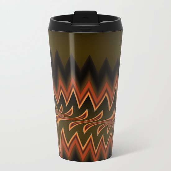 Fractal Tribal Art in Autumn Metal Travel Mug