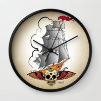 ship Wall Clocks featuring ship by mark ashkenazi