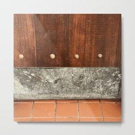 Vintage Wooden Door and Terra Cotta Tile Floor Metal Print