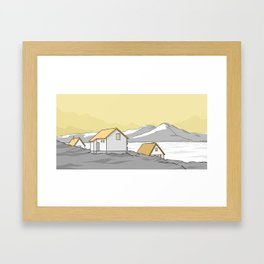 Houses in the cold Framed Art Print