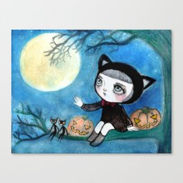Full Moon Halloween Party Canvas Print