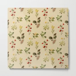 Wild Forest and Field Flower Herb Pattern Metal Print