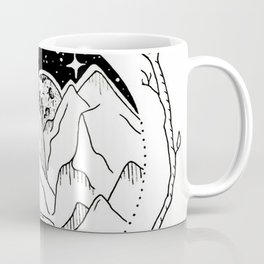 Moon Over Mountain Range Circular Botanical Illustration Coffee Mug