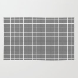 Gray (HTML/CSS gray) - grey color - White Lines Grid Pattern Rug