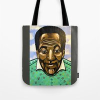 bill Tote Bags featuring Bill Cosby by Portraits on the Periphery