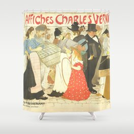"""Théophile Steinlen """"The Street (La rue), poster for the printer Charles Verneau"""" Shower Curtain"""