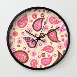 Oriental Persian Paisley, Flowers - Pink Wall Clock