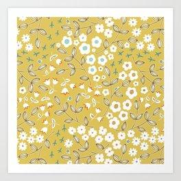 Ditsy Mustard Art Print