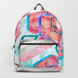 Blue Pink Viola Hybrid Flower Abstract Art Watercolor Backpack