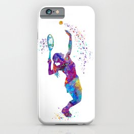 Girl Tennis Watercolor Art Print Sports Nursery Home Decor Kids Room Sports Painting Gifts iPhone Case