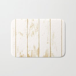 Rustic wooden texture. White and gold antique wood. Bath Mat