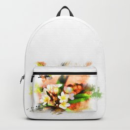 Beautiful tropical flowers on white Backpack
