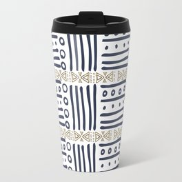 Modern hand painted navy blue gold aztec geometrical Travel Mug