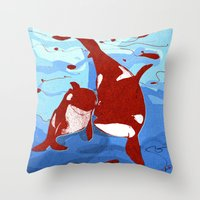 killer whale Throw Pillows featuring killer whale by Elettra