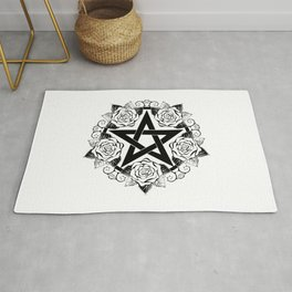 Black Pentagram with Roses Rug
