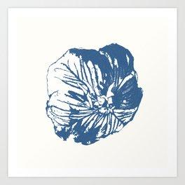 Mexican Primrose Minimal-Nature Blue Art Print