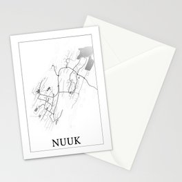 Nuuk, Greenland, city map print Stationery Cards