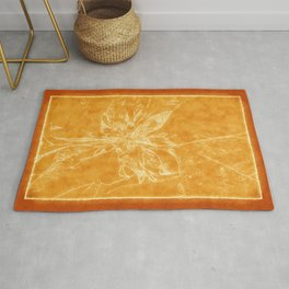 Pale Yellow Poinsettia 1 Outlined Orange Rug