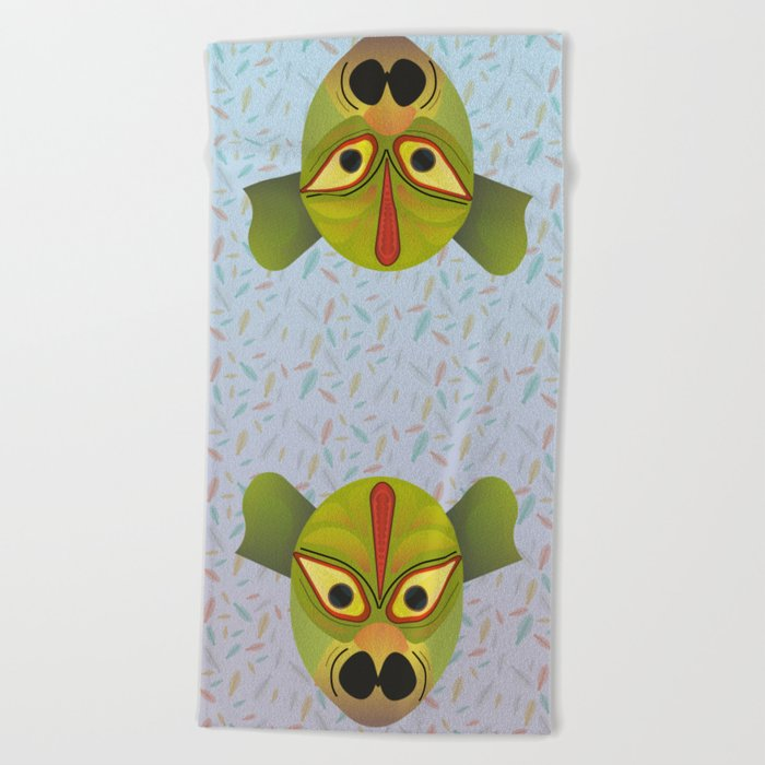 Devil amphibian bird mask Beach Towel
