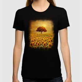 lone tree & sunflowers field (II) T-shirt