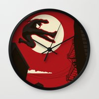 kitchen Wall Clocks featuring Hell's Kitchen by Danny Haas
