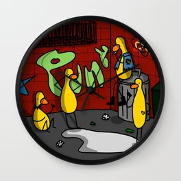 Ducks Go Punk | Veronica Nagorny Wall Clock