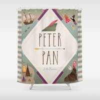 peter pan Shower Curtains featuring Peter Pan by emilydove
