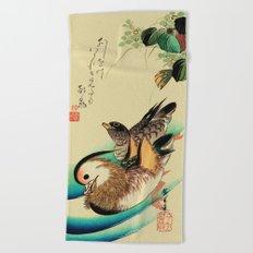 Mandarin Ducks - Vintage Japanese Art Beach Towel