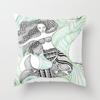 mermaids Throw Pillows featuring Mermaids by winnie patterson