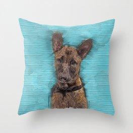 Belgian Malinois Puppy Sketch - Mechelaar Throw Pillow
