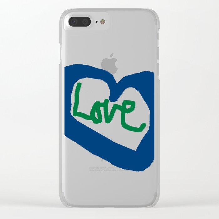Love Heart Blue Heart Clear iPhone Case