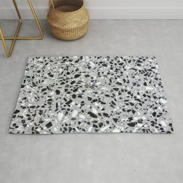 Concrete terrazzo marble texture speckle pattern gray Rug