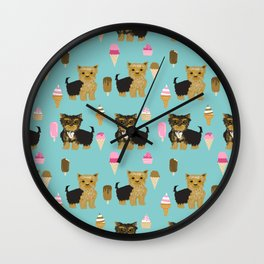 Yorkie ice cream gifts yorkshire terrier dog lover pet friendly patterns minty Wall Clock
