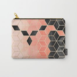 Black And Coral Cubes Carry-All Pouch