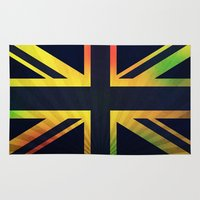 british flag Area & Throw Rugs featuring RASTA BRITISH FLAG by shannon's art space
