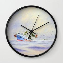 Shrimp Boat On The Gulf Wall Clock