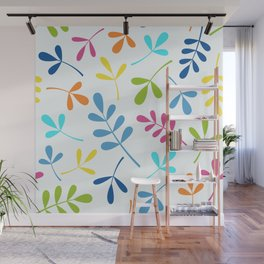 Multicolored Assorted Leaf Silhouettes Wall Mural