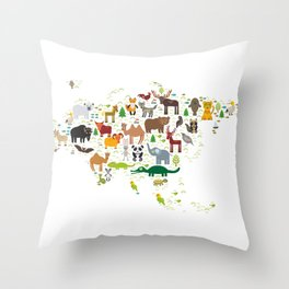 Eurasia animal bison fox wolf horse camel seal Walrus goats Polar bear Eagle bull raccoon snake bear Throw Pillow