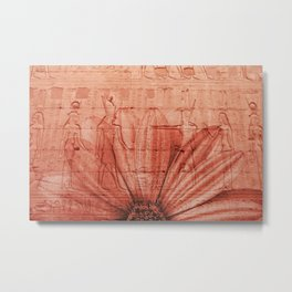 egypt pattern flower red Metal Print
