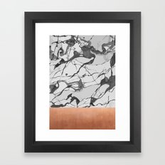White marble and pink copper Framed Art Print