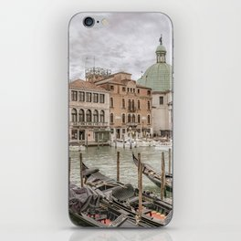 Gondolas Parked at Grand Canal, Venice, Italy iPhone Skin