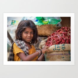 Girl with Chilies Art Print