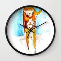 scuba Wall Clocks featuring Scuba by Leah Rose Buckman